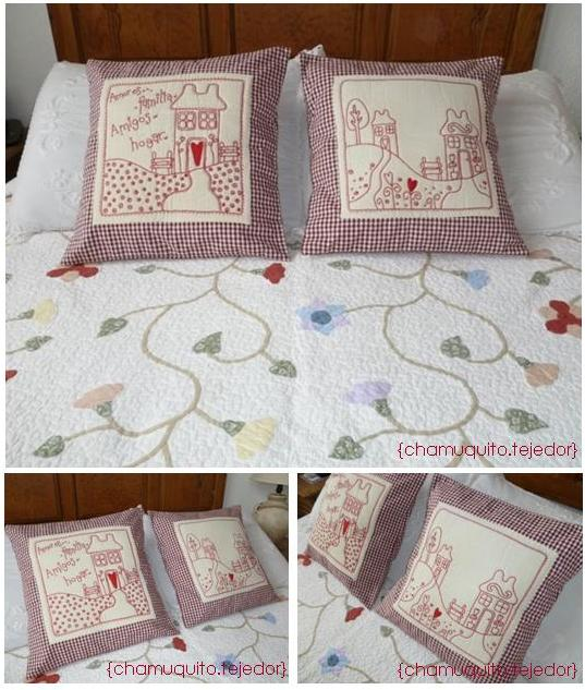 Cojines bordados en redwork con casitas... | <--Chamuquito tejedor-->