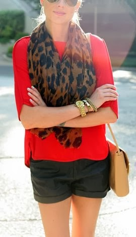 Leopard Scarf With Red Blouse And Black Shorts