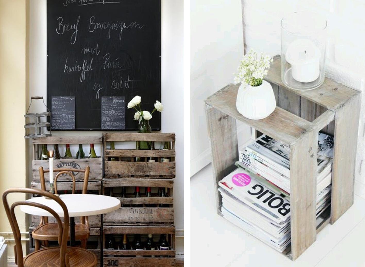 Idea and blog decorar con cajas de madera - Cajas para decorar ...
