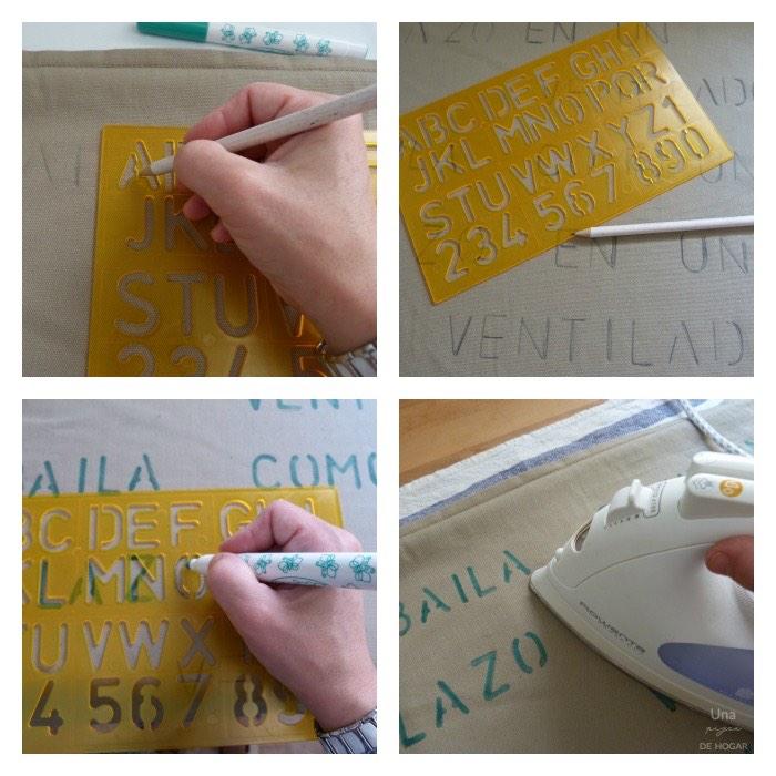 proceso para decorar telas con plantilla y tela