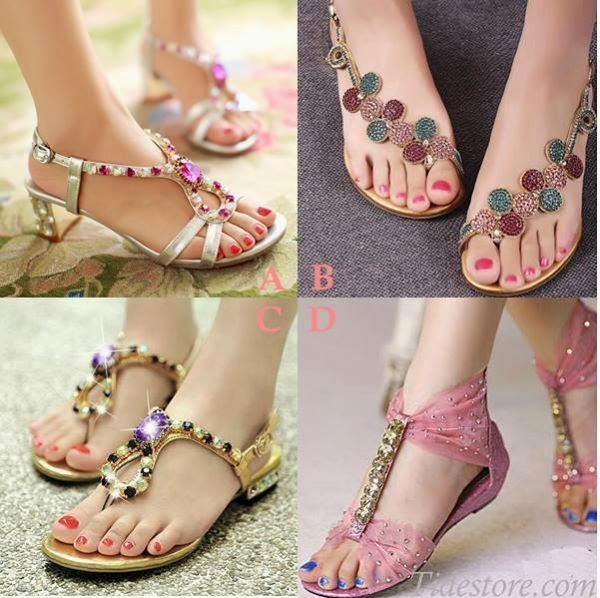 Collection of Womens Flip Flops Rhinestone beads Sandals