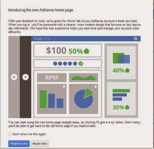 Google introduce new adsense home page