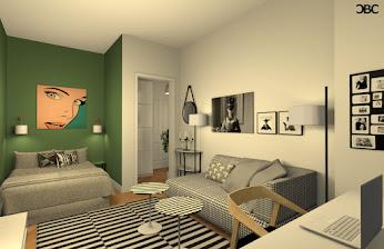 petit espace en blanc, noir et vert
