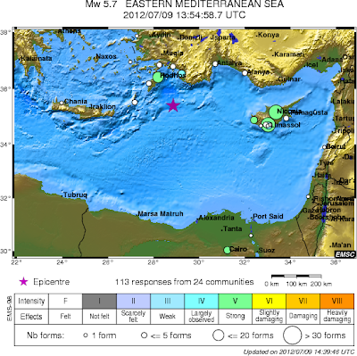 Terremoto de mediana intensidad sacude mar Mediterraneo 09 de Julio 2012