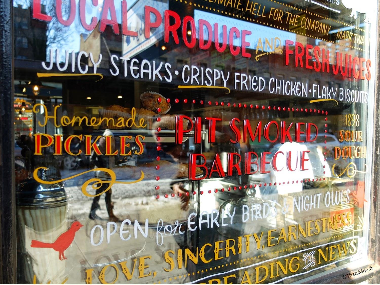 Resto Bubby's Chelsea New-York meatpacking vitrine