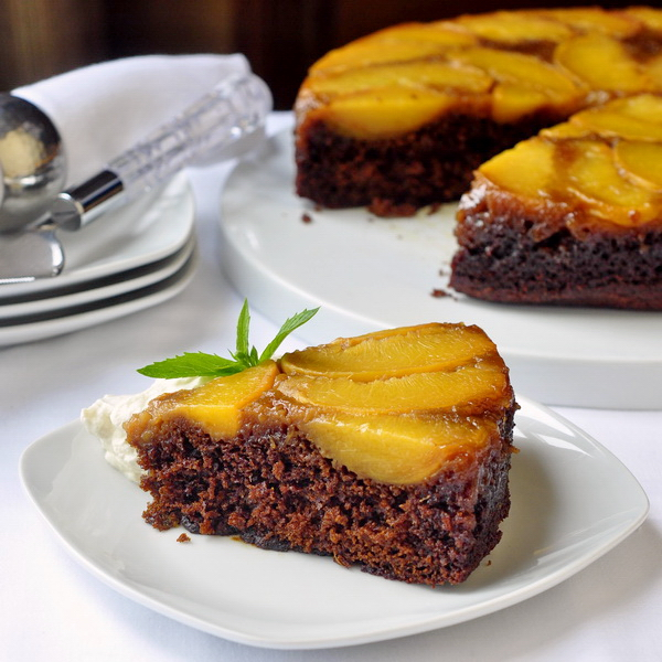 Peach Gingerbread Upside Down Cake