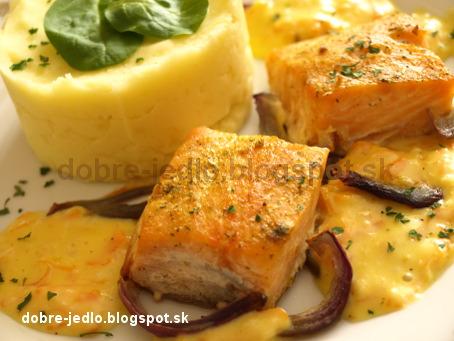 Pečený losos so šalotkami - recepty