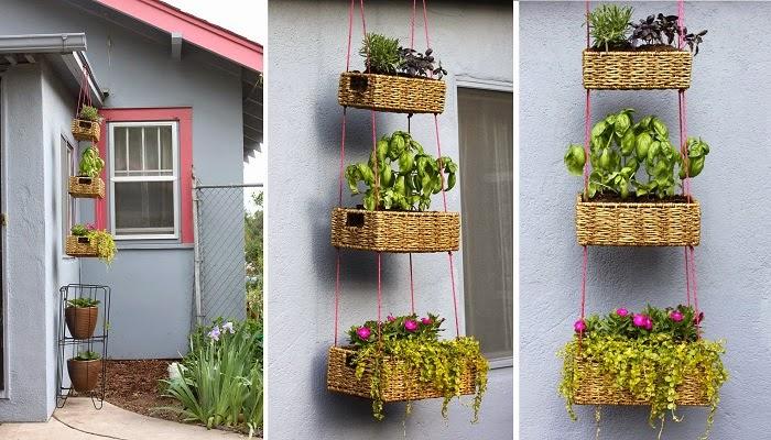 jardim vertical latas: da manhã), essas cestas da um toque mais especial no jardim vertical