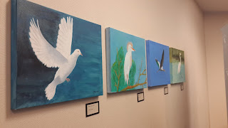 Some of the paint work by President Carter at the Carter Centre in Atlanta