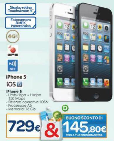 La grande distribuzione Carrefour ripropone i bonus spesa su prodotti apple tra cui l'iPhone 5