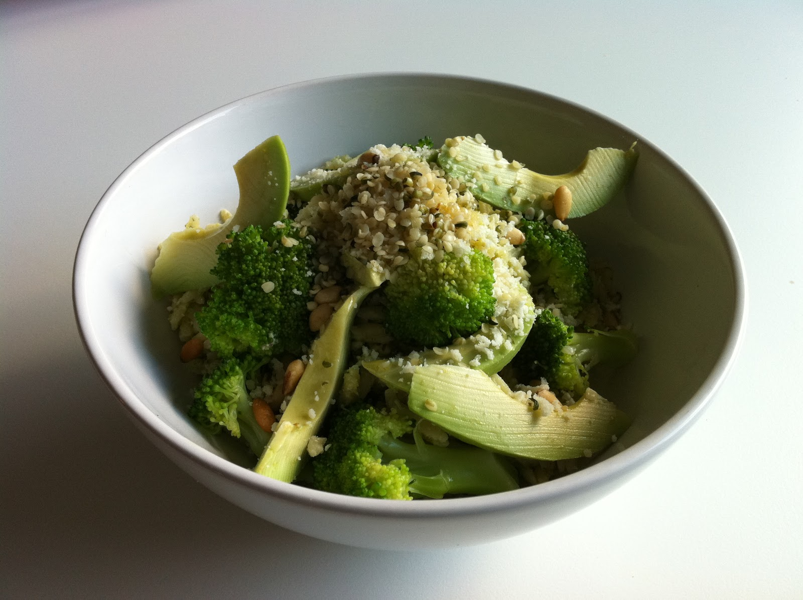 table etc.: orzo+broccoli pesto salad
