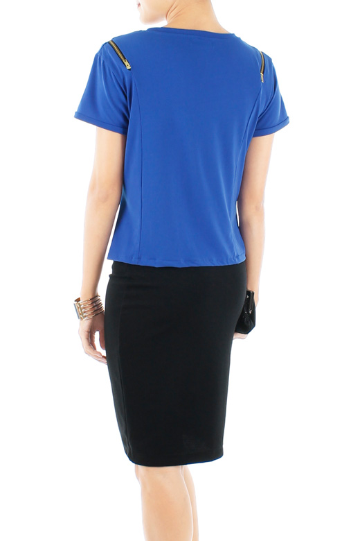 Cobalt Blue Zip Detail Blouse with Off Shoulder Detail