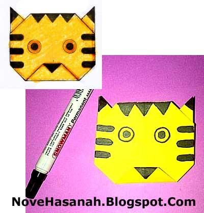cara melipat kertas origami menjadi wajah harimau