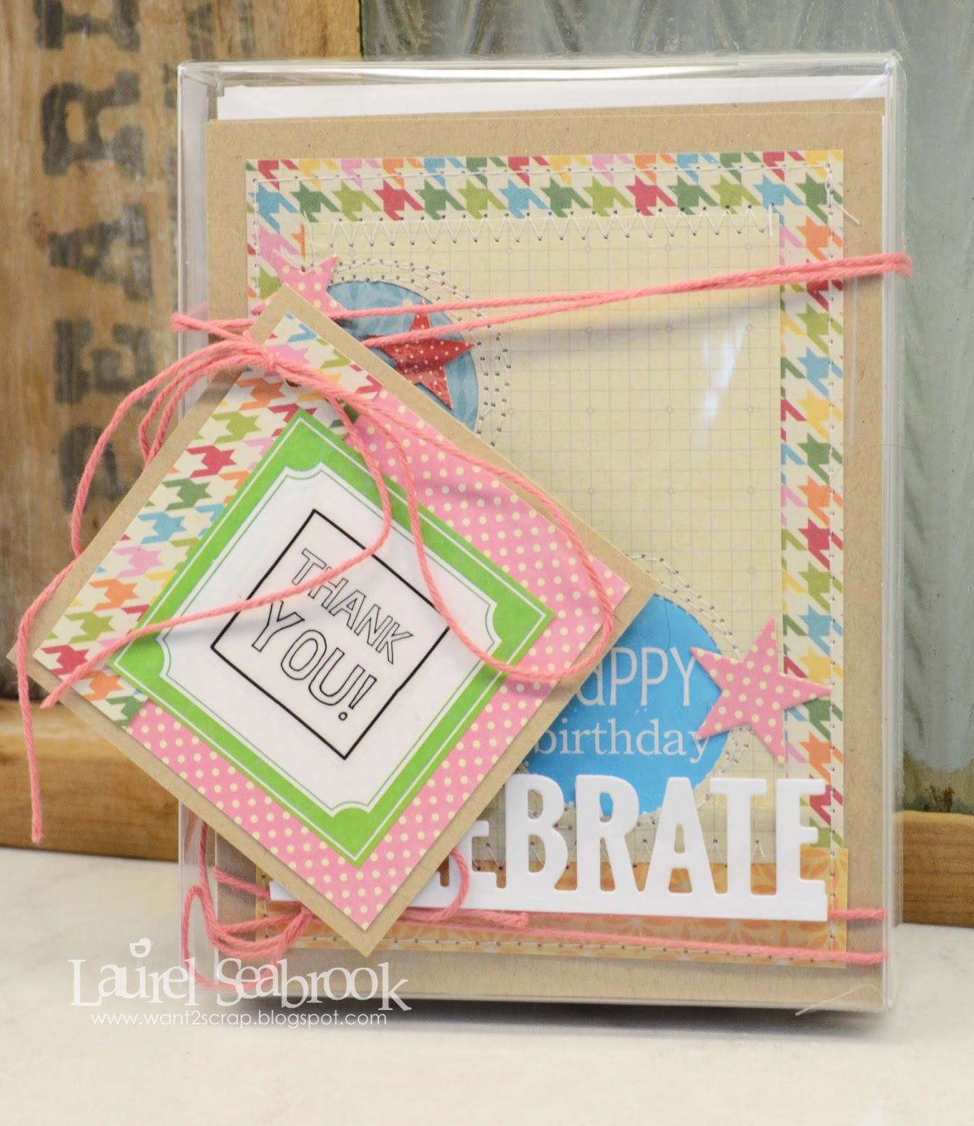 SRM Stickers Blog - Birthday Card Gift Set by Laurel - #birthday #borders #card set #cards #clear box #stickers #twine