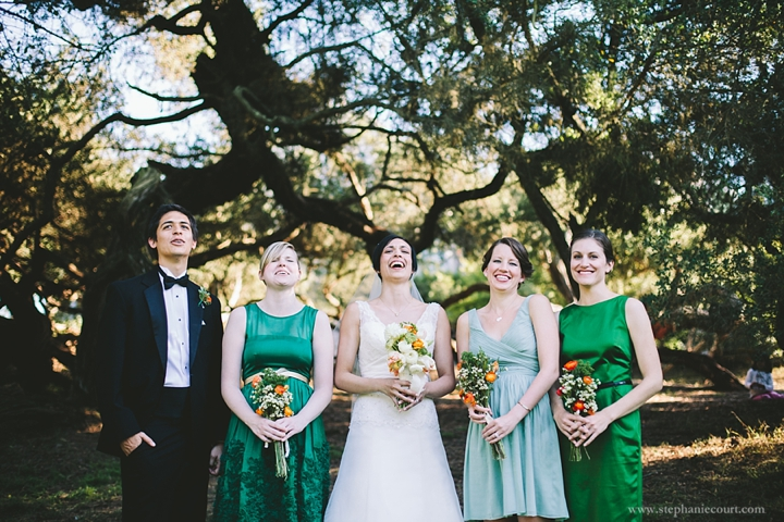 """""""wedding party laughing in san francisco park"""""""
