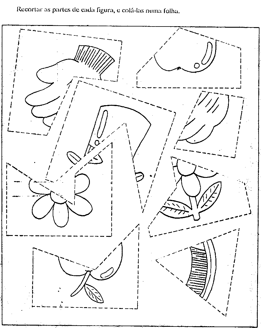 Desenho como desenhar Quebra cabeça palhaços e coelhos para recortar pintar e colorir