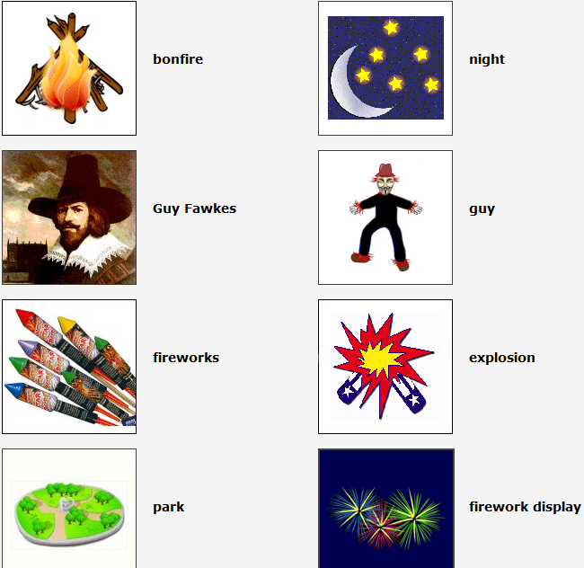 http://www.esolcourses.com/content/topics/autumn-festivals/bonfire-night-beginners-lessons/bonfire-night-beginners-vocabulary.html
