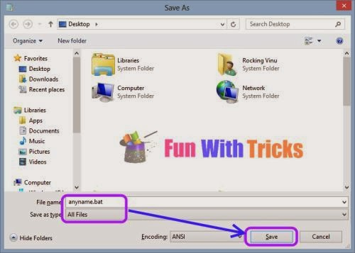 Create a small virus using Notepad_FunWidTricks.Com
