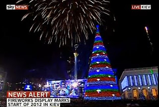 New Year 2012 Eve in Kiev, Ukraine Celebrations, Fireworks around Independence Square -Travel Europe Guide