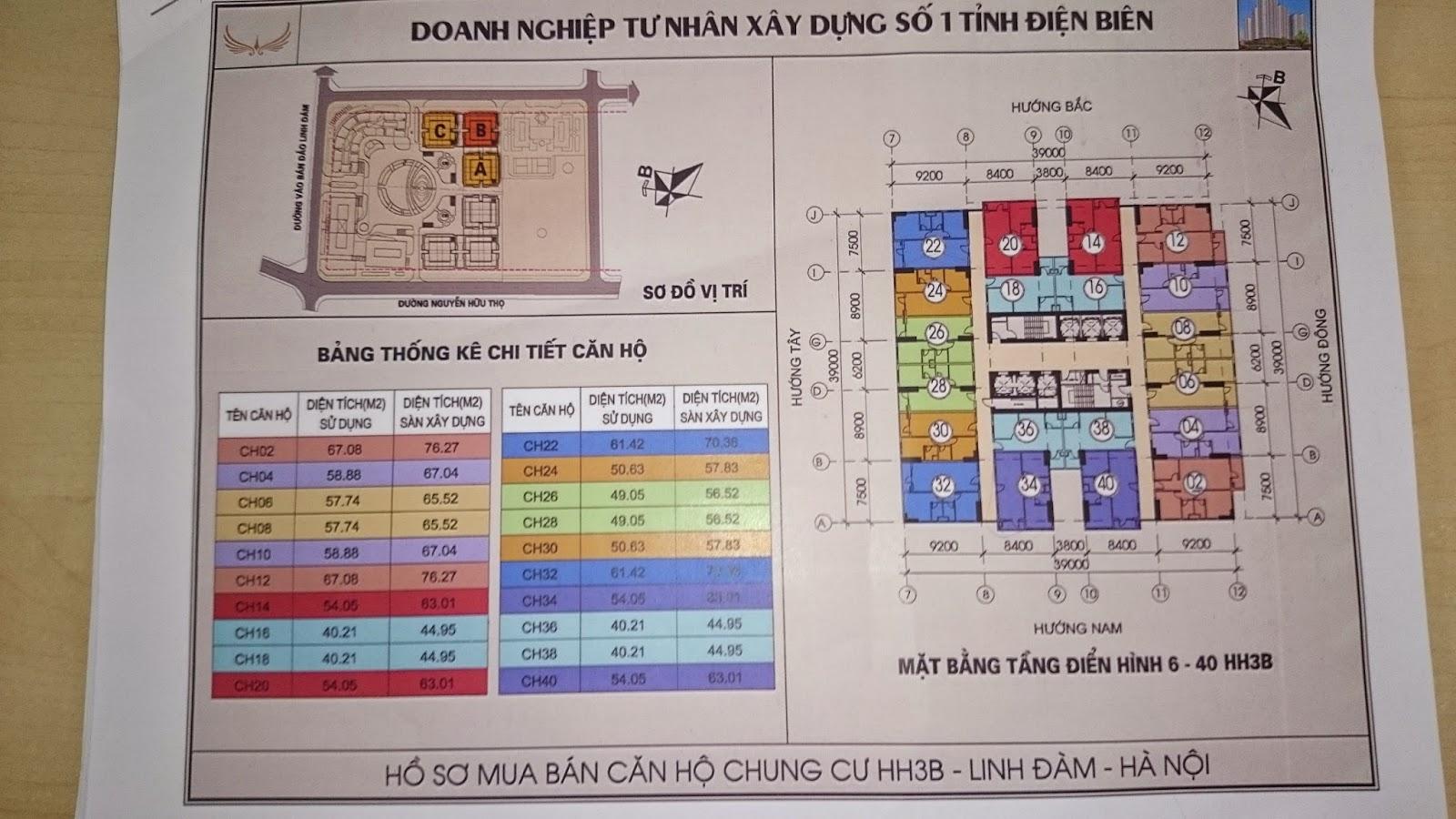 Mặt bằng tầng 6-40 HH3B Linh Đàm
