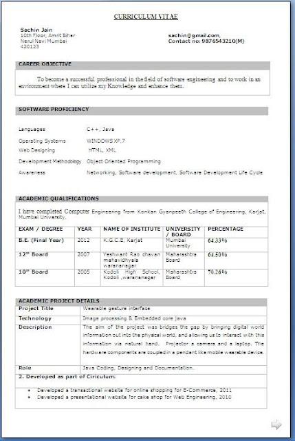 B Tech Final Year Resume