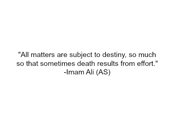All matters are subject to destiny, so much so that sometimes death results from effort.