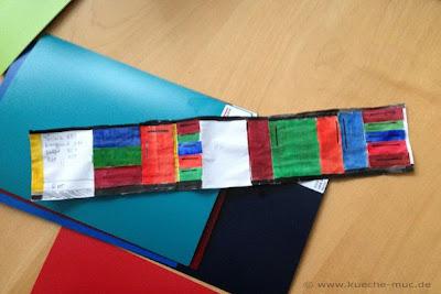 Entwurf für die Küchenfronten in den Farben grün, blau, rot und türkis - eine mutige Farbkombination stilsicher zusammengestellt