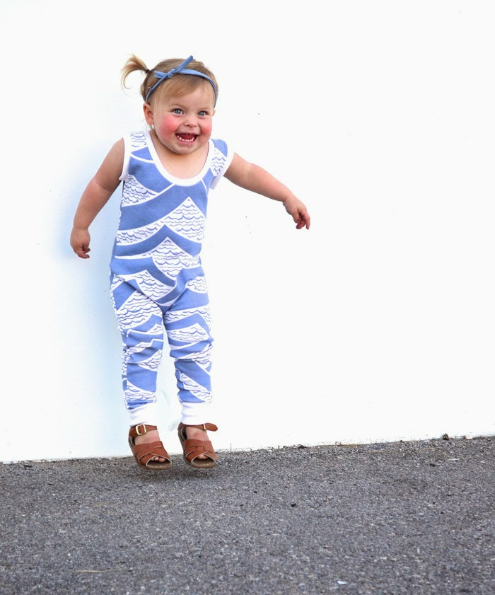 Cool jumpsuit with wave print by Little Cocoa Bean