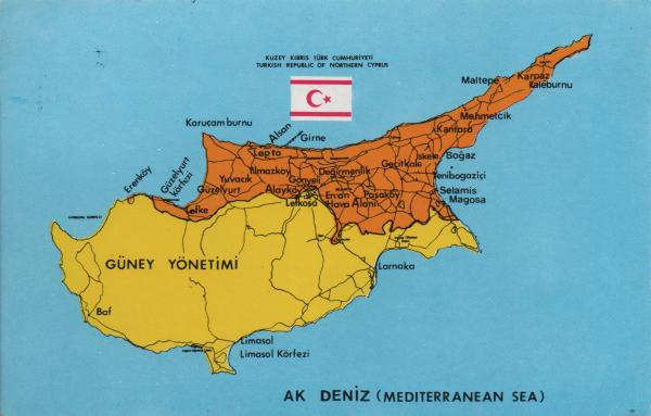 map of Cyprus divided into Turkish and Greek sectors