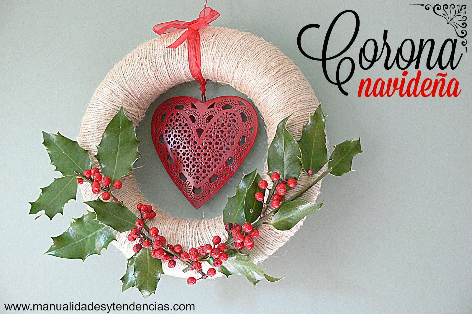 Manualidades y tendencias corona navide a de acebo for Como hacer una corona de navidad para la puerta