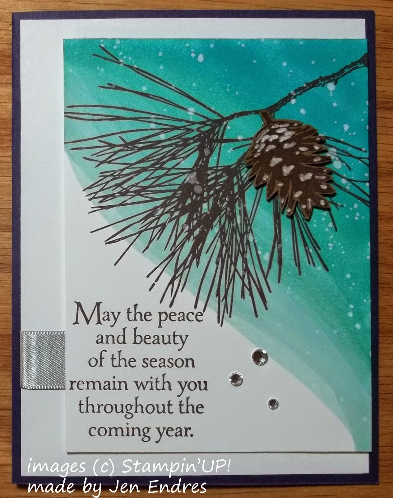 Christmas Card made with Stampin'UP!'s Ornamental Pine Stamp Set and Gorgeous Grunge Snowflakes