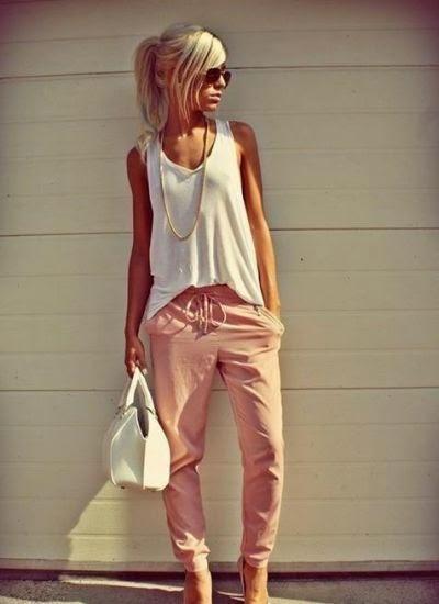 Look tons pastel tendencia primavera verão 2015 calças de pijama rosa