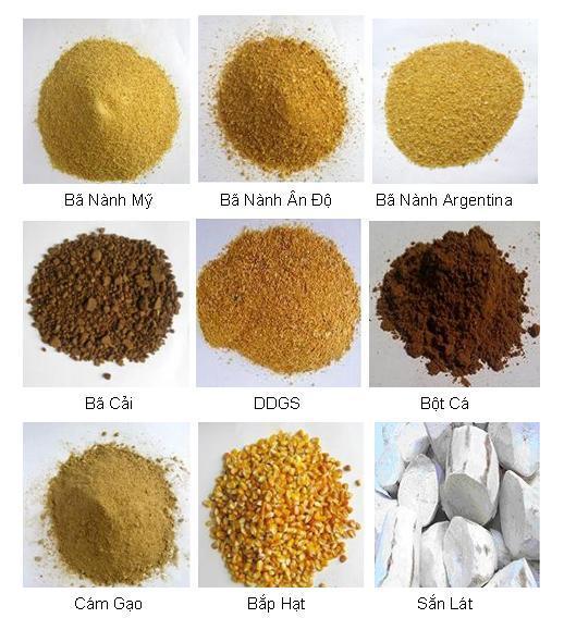 Một số nguyên liệu dùng trong thức ăn chăn nuôi.