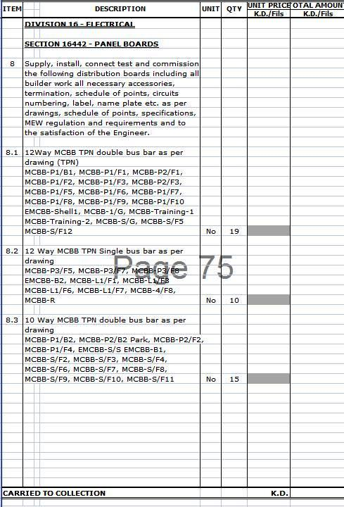 Tender forms and schedules electrical knowhow for Pricing schedule template