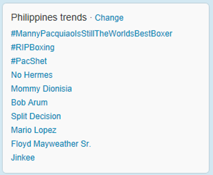 Twitter trends about Pacquiao Bradley fight