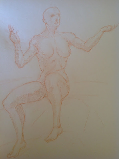 Michael Whynot. A seated female nude looking skyward.
