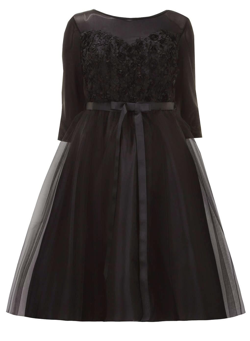 Evans Scarlett & Jo Black 3D Textured Floral Prom Dress 16