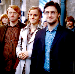 Rony, Hermione e Harry.