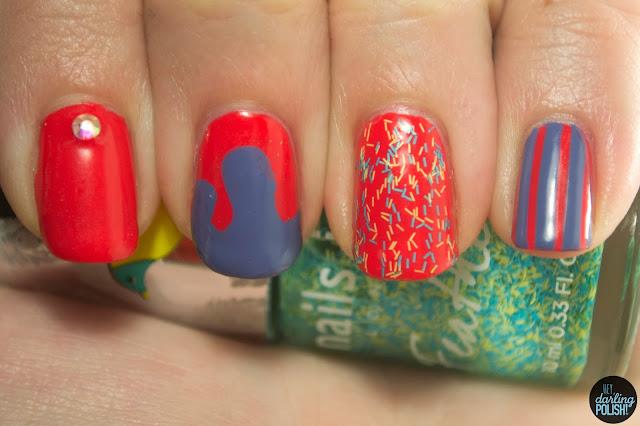 nails, nail art, nail polish, rhinestone, slime nails, bar glitter, stripes, new york color spring street, sinful colors lavander, nails inc brighton