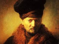 Rembrandt, buste d'un vieil homme portant une cape de fourrure