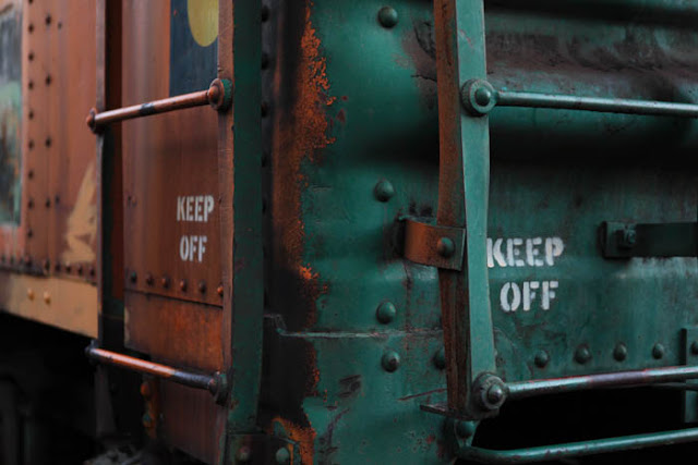 A warning to 'Keep Off' the ladder on this rusty train at the Colorado Railroad Museum.