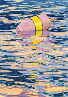 """Pink And Yellow Buoy"" - Watercolor"