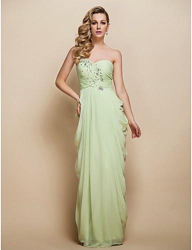 Vestido de Noche Un Hombro color verde salvia
