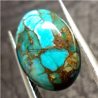 Batu Permata Pirus Urat Emas