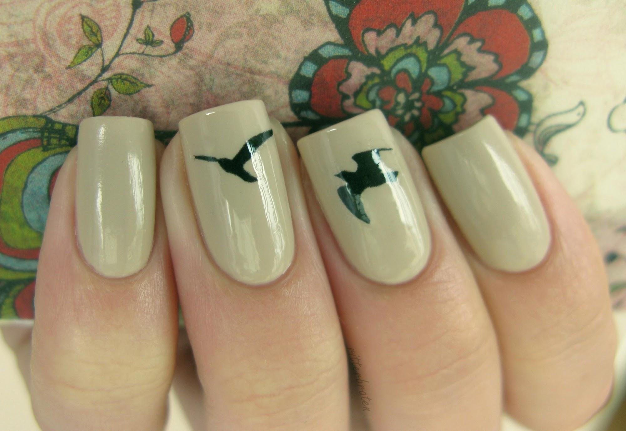 birds nail art