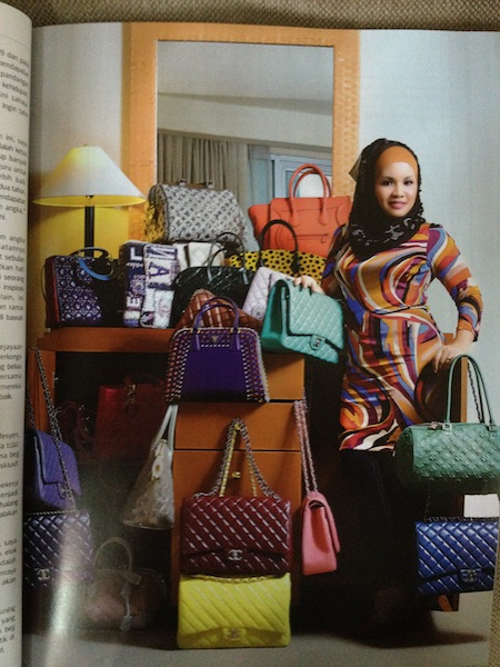 Hanis Haizi in the magazine with her signature designs
