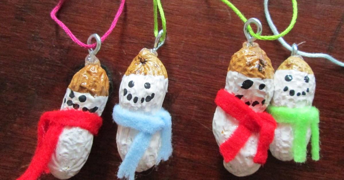 Ninja woman christmas crafting peanut snowmen ornaments