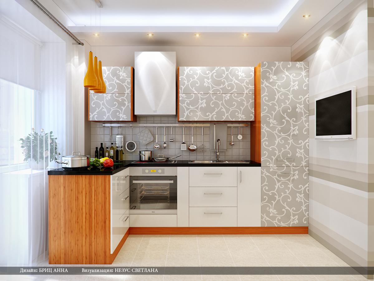 Дизайн кухни обои светлые