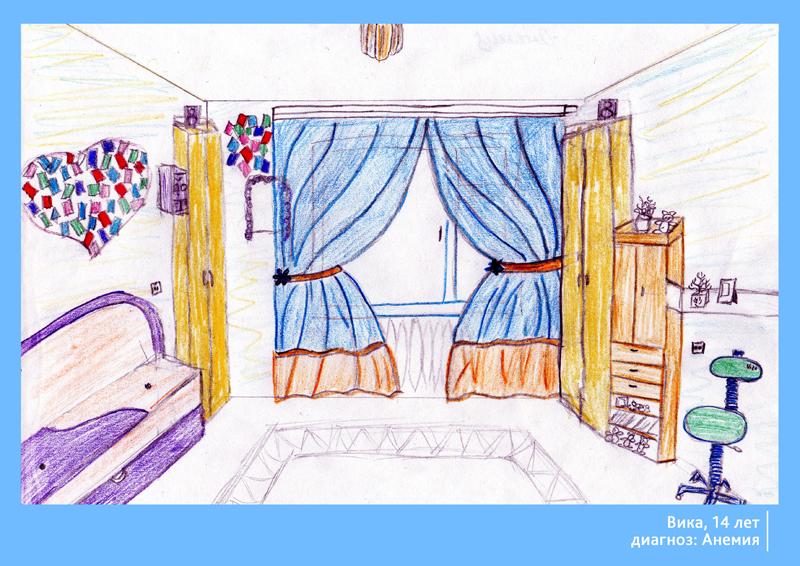 Рисунок комнаты с обстановкой.