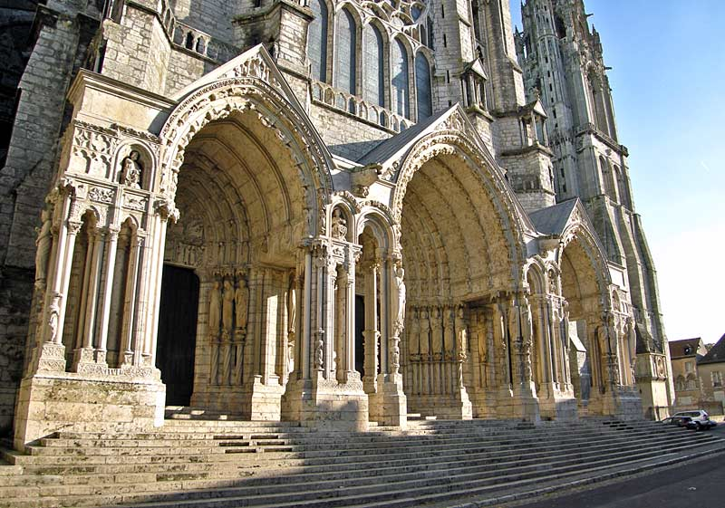 Gothic architecture window windows and buttresses of the - Chartres Cathedral Most Famous Places